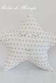 Cojín estrella  blanca con estrellas gris